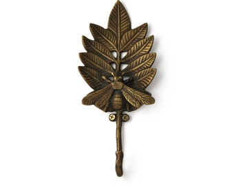 Bee on Leaf Cast Iron Coat Hook / Wall Hook / Key Hook