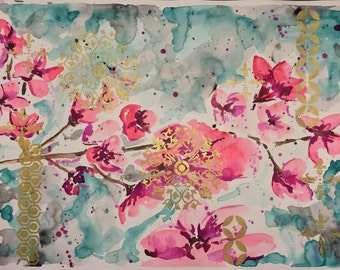 Watercolor painting-cherry blossom/gold (18 x 24)