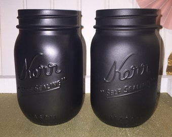 Black mason jar! Bar Decor , Wedding Decor , Home Decor , Vase , candles , matte black