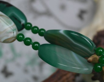 Vintage Banded Green Apple Green Agate beaded Necklace