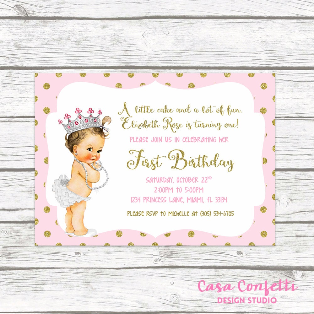 99+ Pink And Gold Princess Party Invitations - Gold Foil Unicorn ...