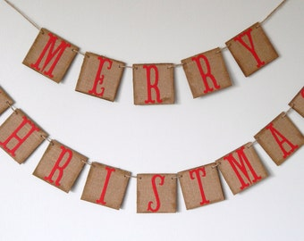 Christmas Banner, Merry Christmas Burlap Chipboard Banner, Red and brown Burlap Banner, Christmas Decoration, Holiday Banner