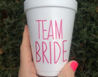 Team Bride, Team Bride Cups, Stickers, Bachelorette Party Decor, Bachelorette Cups, Bachelorette Party Cups, Custom Cups, Labels, Pink