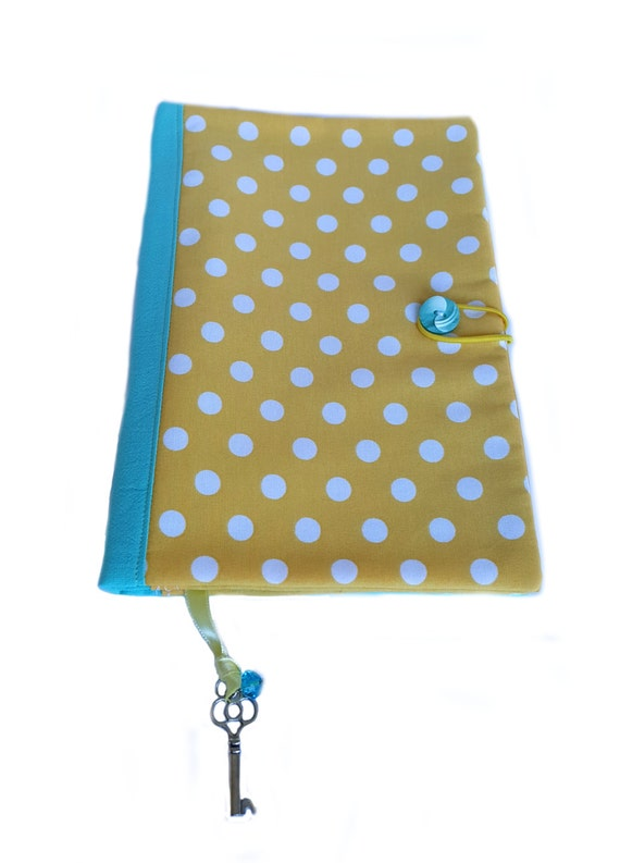 Fabric book cover, cotton book cover, yellow polka dots fabric, book cover, soft book cover, mint green fabric, fabric journal cover,