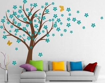 Cherry Blossom Wall Decal Nursery -Tree Wall Decal -Cherry Blossom Wall Sticker-Large Blowing Tree Decal-Vinyl Tree Decals Wall Decal Murals