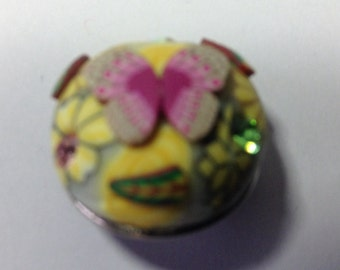 CLAY BUTTERFLY SNAP button..colorful...fun... 20mm