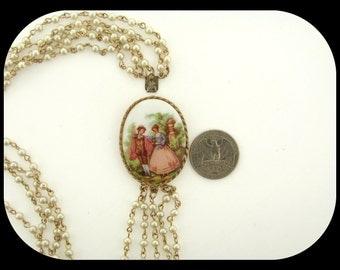 """Vintage Renaissance Scene Porcelain Clasp 4 Strand Faux Pearl & Gold Plated Necklace 22"""""""