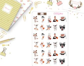 Animals Halloween Stickers, Planner, Halloween Stickers, OCCG#038