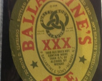 Beer Label Ballantines Ale XXX-P Ballentines and Sons Newark New Jersey