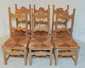 Antique French Country Dinning Chairs set of Six Solid Oak Bleached Finish  #5659