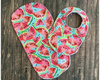 Watermelon bib set burp cloth and bib set