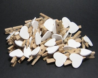 Decorative mini pegs. wedding favours bomboniere baby shower favours wooden pegs with white hearts for favour bags choose 20, 50, 100 pieces