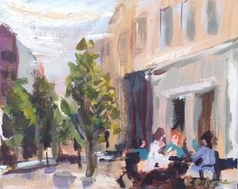 Impressionist Acrylic Painting on canvas board, Original Art Plein-air, 12x10in, Irish street, urban scene