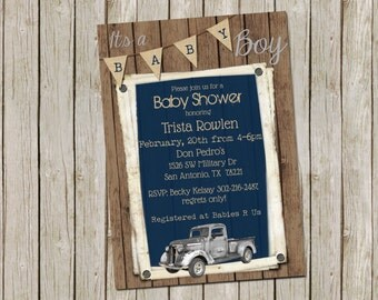 Vintage Truck Navy and Grey Baby Shower Invitation