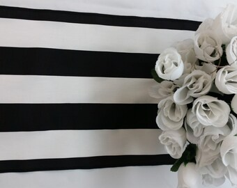 "Wholesale lot of 12 Banquet wedding tablerunner, 90"" x 12"" party runner, black and white stripe, table runner"