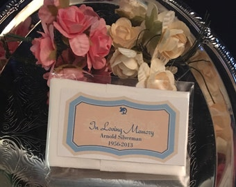 Custom Tissue Packets, In Loving Memory Tissue Packets, Funeral Keepsake