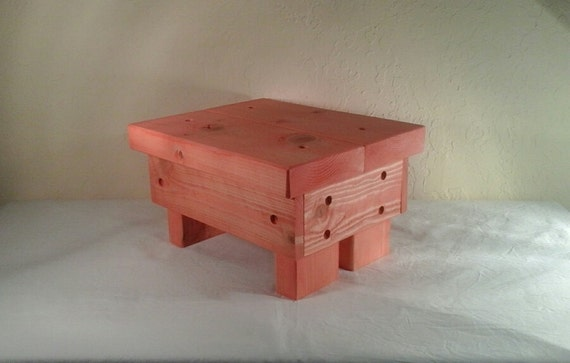 Rustic Step Stool Reclaimed Wood Coral Wooden Childrens