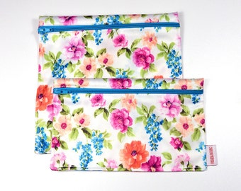 2 Reusable bags - one snack bag one sandwich bag - Chelsea garden