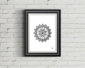 Mandala Art Print / Original Artwork / Illustration / Line Work / Dot Work