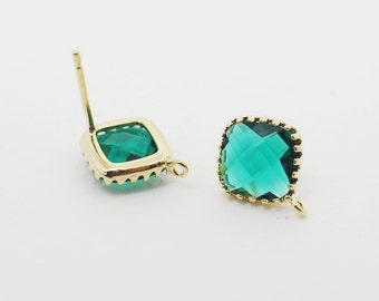 E008705/Emerald/Faceted Glass +Gold Plated Over Brass Frame+Sterling Silver Post/Tooth Framed Square Glass Earrings/10x 10mm/2pcs