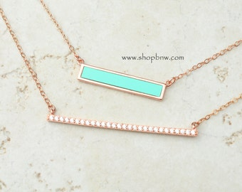 Turquoise Bar Necklace Set / Diamond Bar / Sterling Silver, Gold, Rose gold / Delicate Necklace / Layering Necklace