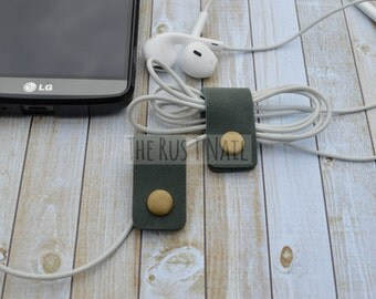 FREE SHIPPING - Set of Two Green Leather Cord Organizers - Cord Keepers