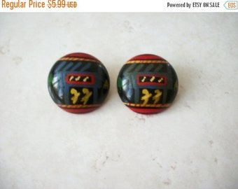 ON SALE Vintage Colorful Chunky Wooden Earrings 8416