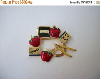 ON SALE Vintage Enamel School Theme Pin 872