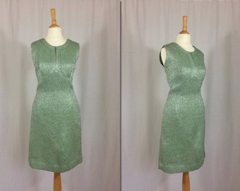 1960s Green and Silver Metallic Mini Dress * Size Small