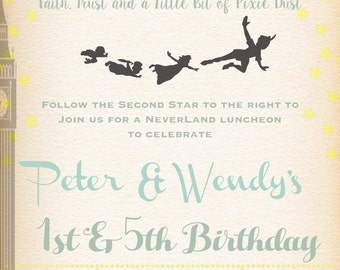 Printable-Birthday-Boy-Girl-Invitation-Peter Pan-Tinkerbell-Neverland-Wendy-Pixie-Pixie Dust-Pirate-Flying-Party-Custom-Stars-Vintage feel