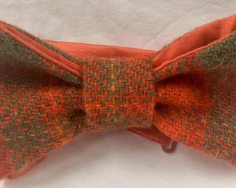Orange, red and green bow tie/Harris Tweed