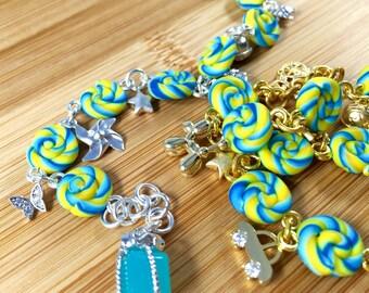 Childhood theme polymer clay charm bracelet