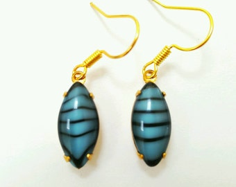 Striped blue glass earrings, vintage glass earrings, glass earrings, glass drop earrings, striped earrings, blue glass jewelry