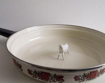 Vintage enamel frying pan