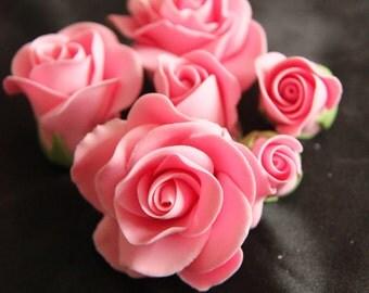 Gumpaste pink roses for wedding cake . Fondant toppers. cupcake decorations. sugar flowers. Beautiful cake flowers.