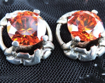 Sterling Silver Earrings Bright Orange Stones,Vintage Earrings