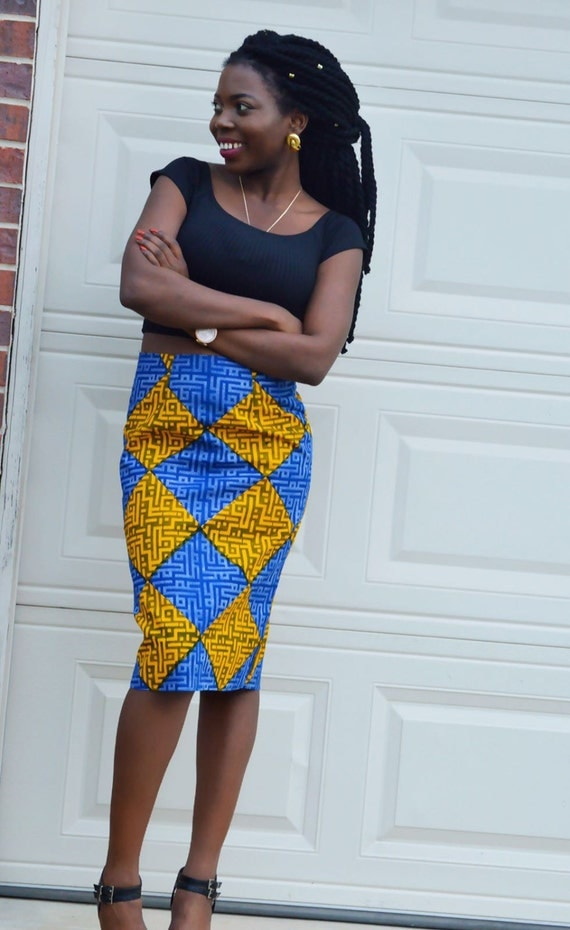 ankara fitted pencil skirt knee length cloth