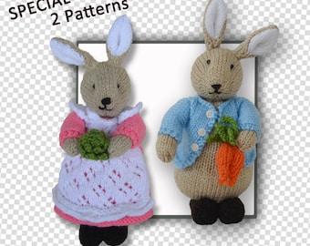 Peter & Beatrix Flufftail Bunny Rabbit (2 pattern together)