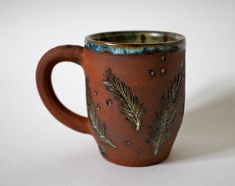 Unusual Handmade Terracotta and Green Coffee/Tea Mug - Perfect Gift -  READY TO SHIP