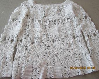 Women crochet tunic, boho tunic, cotton crochet tunic, summer clothes, women shirt, women crochet tops,  hippie chic white tunics