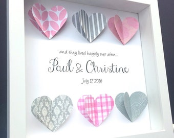 Unique Personalized Wedding Gift, Engagement, Valentine Gift, Paper Anniversary Gift, 3D Origami Hearts Shadowbox Frame Wall Art