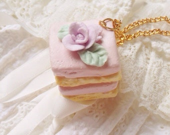 Cake Necklace, Petit Four Necklace, Kawaii Necklace, Cute Necklace, Decoden Necklace- Pastel Pink Rose