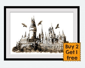 Harry Potter watercolor print Hogwarts poster Hogwarts print Harry Potter poster Home decoration Kids room decor Nursery room wall art W565