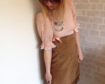 1960's Woodstock High waisted Suede Fringe/ Tassle Skirt