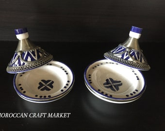 Silver Lined Moroccan Pottery