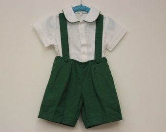 SALE 10% OFF Suspenders' shorts with matching shirt - Size: 2, 3 and 4 Years Old