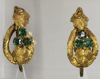 Victorian yellow gold and tourmaline screw back earrings