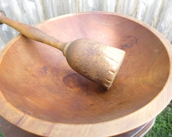 Primitive Wood Dough Bowl with Masher Vintage Farmhouse Wood Bowl Rustic Decor Woodenware