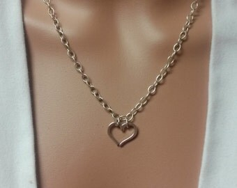Sterling Silver Tiffany Style Heart Pendant  Link Chain Necklace