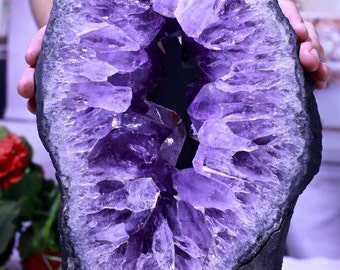 Amethyst Geode Slice 13 lb Incredible Quality Crystal Hypnotizing Prisms w Stand
